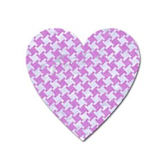 Houndstooth2 White Marble & Purple Colored Pencil Heart Magnet