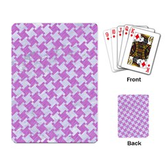 Houndstooth2 White Marble & Purple Colored Pencil Playing Card