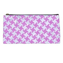 Houndstooth2 White Marble & Purple Colored Pencil Pencil Cases