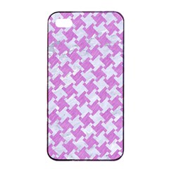Houndstooth2 White Marble & Purple Colored Pencil Apple Iphone 4/4s Seamless Case (black)