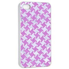 Houndstooth2 White Marble & Purple Colored Pencil Apple Iphone 4/4s Seamless Case (white)