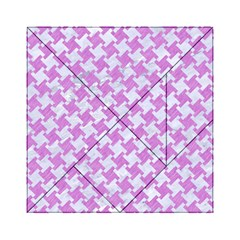 Houndstooth2 White Marble & Purple Colored Pencil Acrylic Tangram Puzzle (6  X 6 )