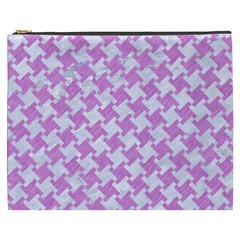 Houndstooth2 White Marble & Purple Colored Pencil Cosmetic Bag (xxxl)