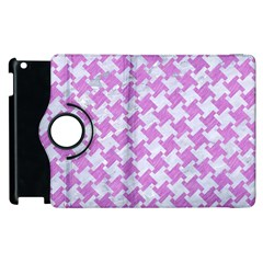 Houndstooth2 White Marble & Purple Colored Pencil Apple Ipad 2 Flip 360 Case