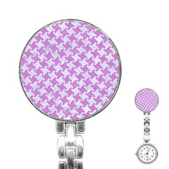 Houndstooth2 White Marble & Purple Colored Pencil Stainless Steel Nurses Watch