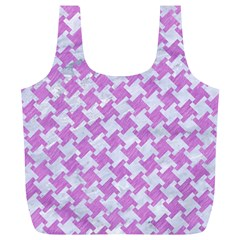 Houndstooth2 White Marble & Purple Colored Pencil Full Print Recycle Bags (l)