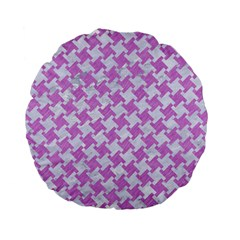 Houndstooth2 White Marble & Purple Colored Pencil Standard 15  Premium Flano Round Cushions