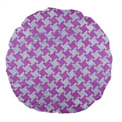 Houndstooth2 White Marble & Purple Colored Pencil Large 18  Premium Flano Round Cushions