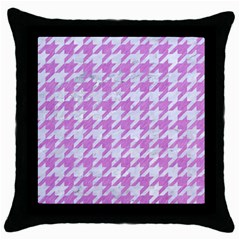 Houndstooth1 White Marble & Purple Colored Pencil Throw Pillow Case (black)