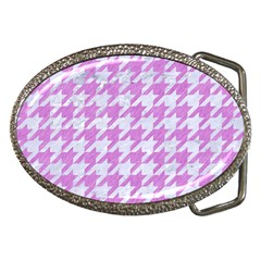 Houndstooth1 White Marble & Purple Colored Pencil Belt Buckles