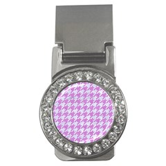 Houndstooth1 White Marble & Purple Colored Pencil Money Clips (cz)