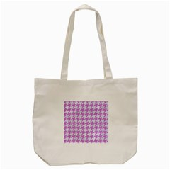Houndstooth1 White Marble & Purple Colored Pencil Tote Bag (cream) by trendistuff
