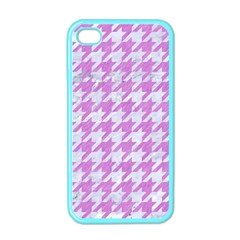 Houndstooth1 White Marble & Purple Colored Pencil Apple Iphone 4 Case (color)