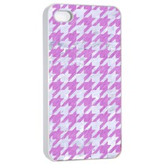 Houndstooth1 White Marble & Purple Colored Pencil Apple Iphone 4/4s Seamless Case (white)