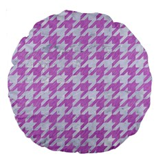 Houndstooth1 White Marble & Purple Colored Pencil Large 18  Premium Round Cushions