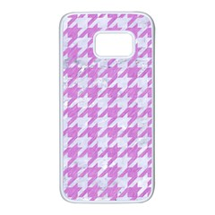 Houndstooth1 White Marble & Purple Colored Pencil Samsung Galaxy S7 White Seamless Case