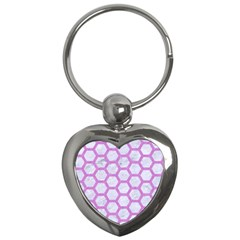 Hexagon2 White Marble & Purple Colored Pencil (r) Key Chains (heart)  by trendistuff