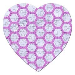 Hexagon2 White Marble & Purple Colored Pencil (r) Jigsaw Puzzle (heart)