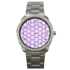 Hexagon2 White Marble & Purple Colored Pencil (r) Sport Metal Watch