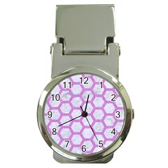 Hexagon2 White Marble & Purple Colored Pencil (r) Money Clip Watches