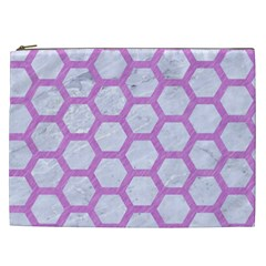 Hexagon2 White Marble & Purple Colored Pencil (r) Cosmetic Bag (xxl)