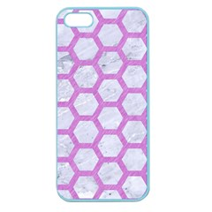 Hexagon2 White Marble & Purple Colored Pencil (r) Apple Seamless Iphone 5 Case (color)