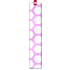 Hexagon2 White Marble & Purple Colored Pencil (r) Large Book Marks