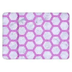 Hexagon2 White Marble & Purple Colored Pencil (r) Samsung Galaxy Tab 8 9  P7300 Flip Case