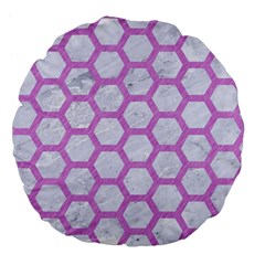 Hexagon2 White Marble & Purple Colored Pencil (r) Large 18  Premium Flano Round Cushions
