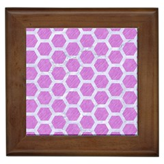 Hexagon2 White Marble & Purple Colored Pencil Framed Tiles