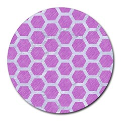 Hexagon2 White Marble & Purple Colored Pencil Round Mousepads