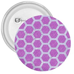 Hexagon2 White Marble & Purple Colored Pencil 3  Buttons