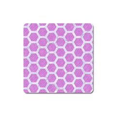 Hexagon2 White Marble & Purple Colored Pencil Square Magnet