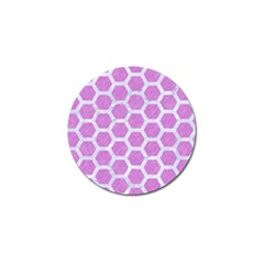 Hexagon2 White Marble & Purple Colored Pencil Golf Ball Marker (4 Pack)