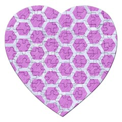 Hexagon2 White Marble & Purple Colored Pencil Jigsaw Puzzle (heart)