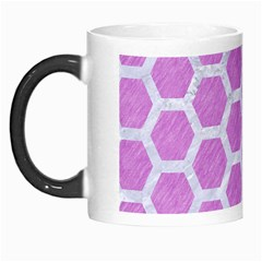 Hexagon2 White Marble & Purple Colored Pencil Morph Mugs