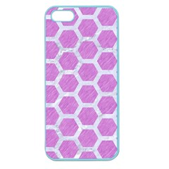 Hexagon2 White Marble & Purple Colored Pencil Apple Seamless Iphone 5 Case (color)