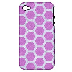 Hexagon2 White Marble & Purple Colored Pencil Apple Iphone 4/4s Hardshell Case (pc+silicone)