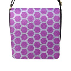 Hexagon2 White Marble & Purple Colored Pencil Flap Messenger Bag (l)