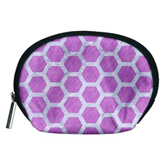 Hexagon2 White Marble & Purple Colored Pencil Accessory Pouches (medium)  by trendistuff