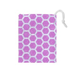 Hexagon2 White Marble & Purple Colored Pencil Drawstring Pouches (medium)