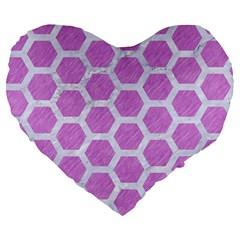 Hexagon2 White Marble & Purple Colored Pencil Large 19  Premium Flano Heart Shape Cushions