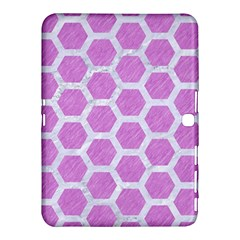 Hexagon2 White Marble & Purple Colored Pencil Samsung Galaxy Tab 4 (10 1 ) Hardshell Case  by trendistuff