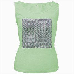 Hexagon1 White Marble & Purple Colored Pencil (r) Women s Green Tank Top