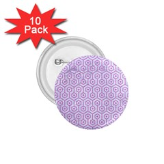 Hexagon1 White Marble & Purple Colored Pencil (r) 1 75  Buttons (10 Pack)