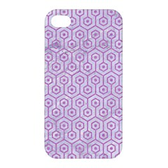 Hexagon1 White Marble & Purple Colored Pencil (r) Apple Iphone 4/4s Hardshell Case
