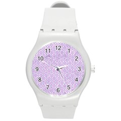 Hexagon1 White Marble & Purple Colored Pencil (r) Round Plastic Sport Watch (m)