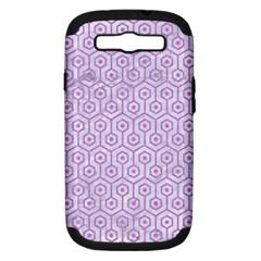 Hexagon1 White Marble & Purple Colored Pencil (r) Samsung Galaxy S Iii Hardshell Case (pc+silicone)