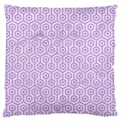 Hexagon1 White Marble & Purple Colored Pencil (r) Standard Flano Cushion Case (one Side)