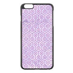 Hexagon1 White Marble & Purple Colored Pencil (r) Apple Iphone 6 Plus/6s Plus Black Enamel Case